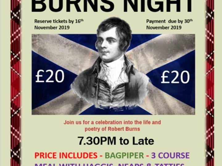 Burns Night 25th January '20 -BOOKING NECESSARY by 16th November!