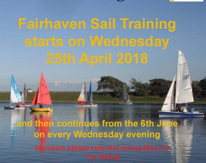 Fairhaven Lake Sail Training 2018 -starts 25 April