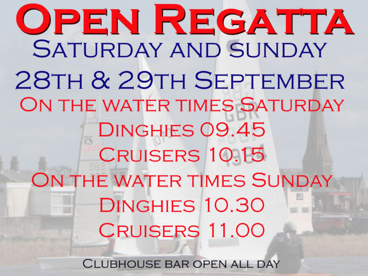 Open Regatta 28th and 29th September